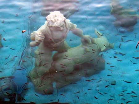 Hirte mit Schwein in der Unterwasserkrippe